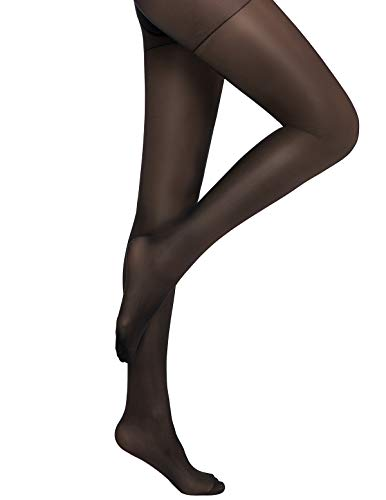 Reinforced Toe Shaping Pantyhose Control Top Semi Opaque Tights Push Up Hosiery (Small, Black)
