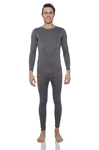 Rocky Thermal Underwear for Men Midweight Fleece Lined Thermals Men's Base Layer Long John Set (Charcoal - Midweight (Fleece) - Large)