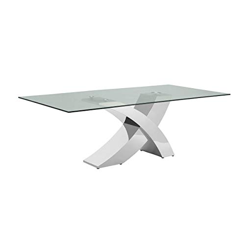 Geneva Collection Steel/Glass Dining Table Modern Contemporary Rectangle Metal Steel Stainless Finish (Geneva Dining Table)