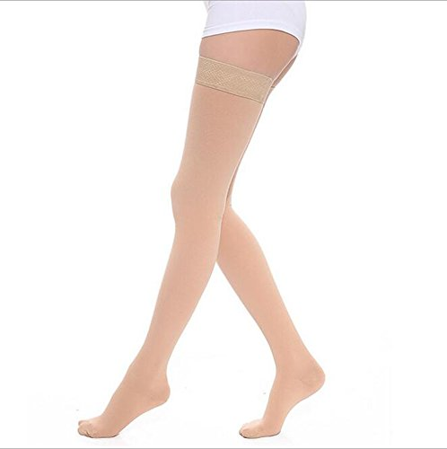 Women's Medical Compression Stockings 20-30mmHg 15-20mmhg,Thigh High,Closed Toe,Graduated Compression Socks For Swelling,Varicose,Veins,Edema And So On (M, Beige)