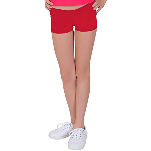 Stretch is Comfort Girl's NYLON SPANDEX Booty Shorts Red, Medium ()