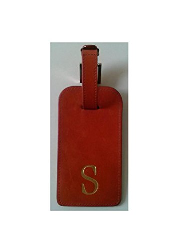 Leather Luggage Tag Red Sold Letter ''S'' by Madison Signatures