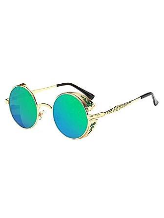 69e494e6566158 Lunettes rondes dorées et décorées à verres verts bleus, steampunk retro  vintage