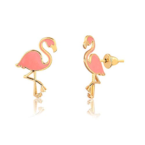 - Carol Jewelry 18k Hypoallergenic Yellow Gold Enamel Flamingo Push Back Safety Stopper Stud Earrings for Girls, Children and Infants
