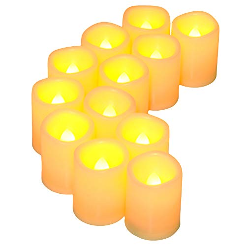 Holly Votives - SWEETIME Tealight Candles Battery Operated, Set of 12 Flameless LED Votive Pillar Candles with Amber Yellow Flickering Flame for Weddings and Gifts(Battery Include)