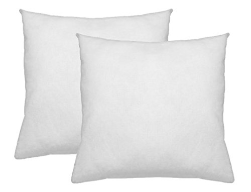 Deluxe Home Premium Pillow Sham Inserts - 18 x 18 Set of 2 Square Form Pillow Insert Stuffer Decorative Pillow Shams - Hypoallergenic, Down Alternative Fill - Crafted in The USA (18, White)