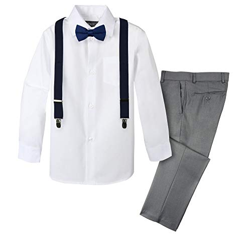 Spring Notion Boys' 4-Piece Suspender Outfit 4T Grey/Navy