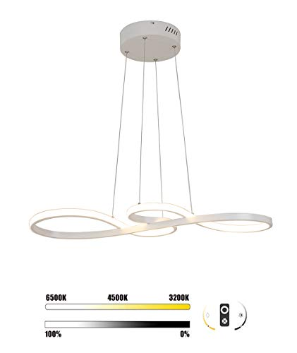 Modern Chandelier Lighting LED Dining Room Dimmable Pendant Light, Length 100cm and Chain 120cm Height Adjustable…