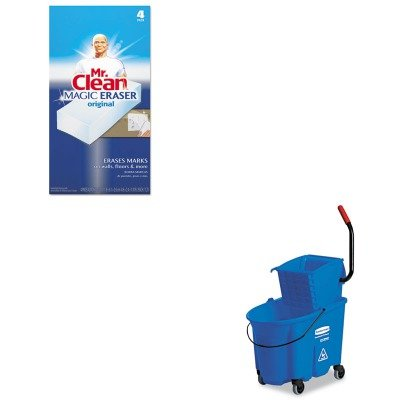KITPAG82027RCP758888BLU - Value Kit - Rubbermaid-Wave Brake 32 Quarts Side Press Combo,Blue (RCP758888BLU) and Mr. Clean Magic Eraser Foam Pad (PAG82027) by Rubbermaid