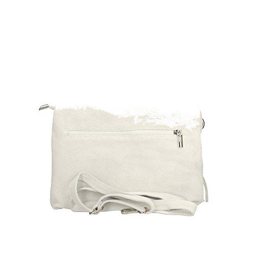 Chicca Borse echtes Leder Schultertasche 28x22x5 Cm Weiß mTZyNtRQz