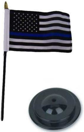 "Police Blue Line /& Thin Green Line USA 4/""x6/"" Flag Desk Set Table Stick Gold Base"