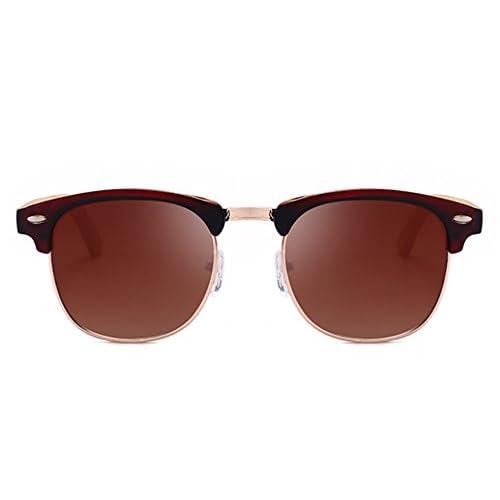 1c9258c27f Gafas de sol polarizadas de medio marco retro medio clásico Piernas de  madera de bambú UV400