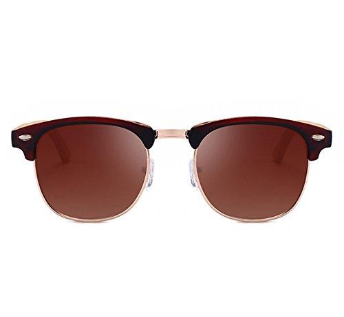 Brun miroir Brun Polarized en trame Classique Protection UV400 soleil Worclub demi Rétro lunettes bois jambe de Windbreaker w71TWSaqn