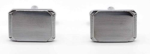 (Stephanie Imports Men's Platinum-Plated Rectangle Shaped Cufflinks in Gift Box)