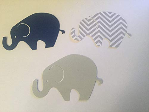 (24 Light Gray Navy Gray Chevron Elephant Cutout 3 3/4 Inch Elephant Cut Outs Large Elephant Diecut Elephant Baby Shower Elephant Theme)