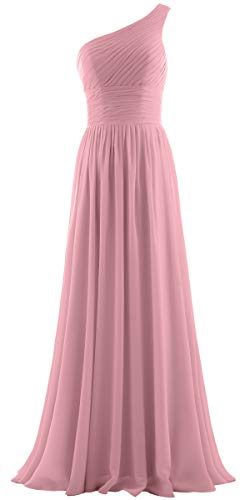 - ANTS Women's Pleat Chiffon One Shoulder Bridesmaid Dresses Long Evening Gown Size 12 US Blush
