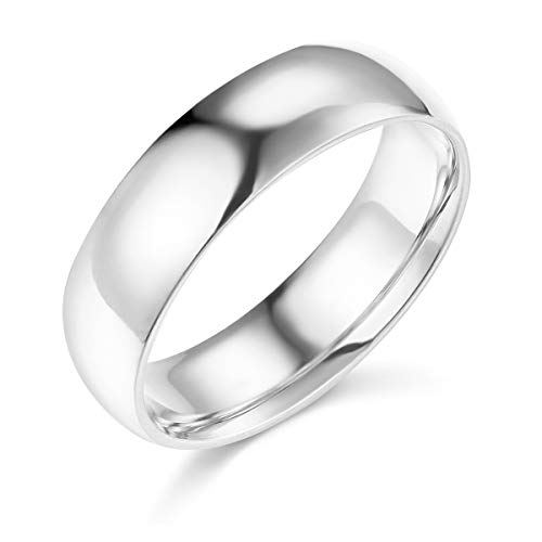 Wellingsale Mens 14k White Gold Solid 6mm CLASSIC FIT Traditional Wedding Band Ring - Size 9.5 -