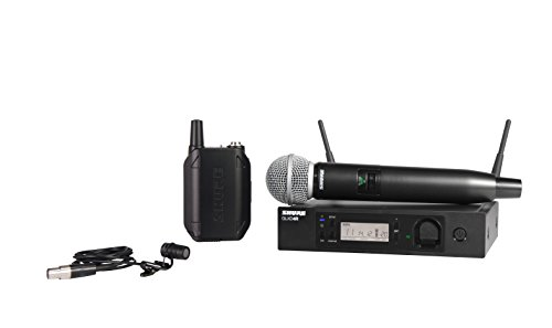 Shure GLXD124R/85-Z2 Rechargeable Combo Wireless System with SM58 Handheld and WL185 Lavalier Microphones, Half - Splitter Mic Channel 16