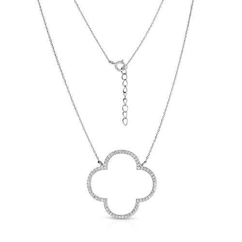 Unique Royal Jewelry Sterling Silver Open Four Leaf Clover Cubic Zirconia Necklace with Adjustable Length.