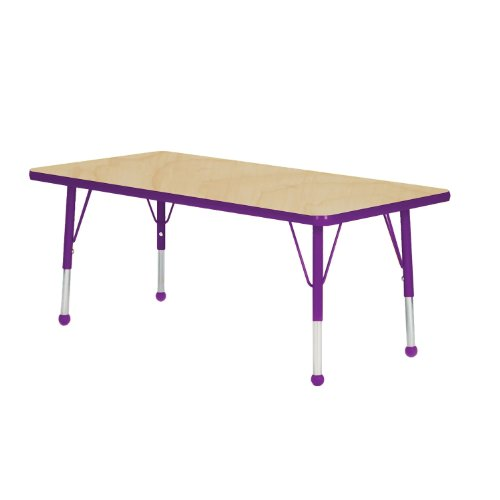 Mahar Kids 36'' X 60'' Rectangle Table Top Color: Maple, Edge Color: Purple, Leg Height: Standard 21''-30'', Glide Style: Self-Leveling Nickel by Mahar