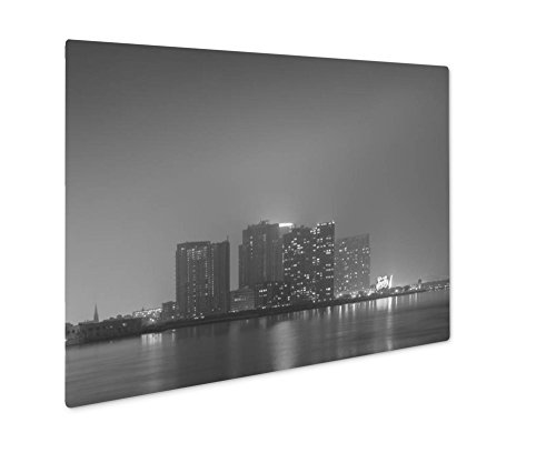 Ashley Giclee Williamsburg Skyline New York City, Wall Art Photo Print On Metal Panel, Black & White, 16x20, Floating Frame, - 16 Light Williamsburg