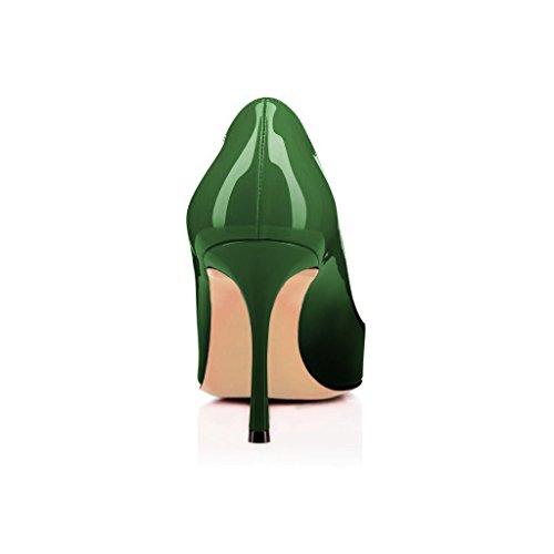 Donne Fsj Lusinghiose Scarpe Aperte Abito Formale Scarpe Tacco Lucido Vernice Taglia 4-15 Us Gradiente Smeraldo