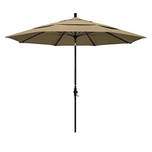 - California Umbrella 11' Round Aluminum Pole Fiberglass Rib Market Umbrella, Crank Lift, Collar Tilt, Bronze Pole, Sunbrella Heather Beige