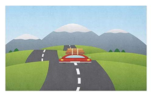 Doormat, Illustration of a Car with Suitcases on The Roof Going to The Mountains Design, Decorative Polyester Floor Mat with Non-Skid Backing, 30 W X 18 L inches, Multicolor ()