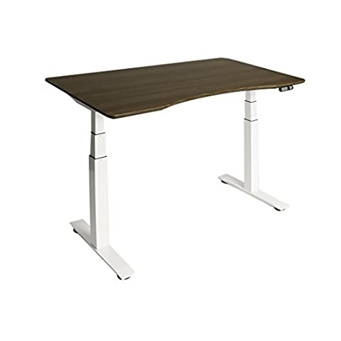 Seville Classics AIRLIFT S3 Electric Height-Adjustable Standing Desk, with Walnut Ergo Table Top with Beveled Bottom Edges, 54