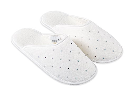 - Möve Crystal Collection Slippers in Size 36 - 38 Made of 100% Baumwolle, Decorated with Swarovski Crystals (Allover), Snow