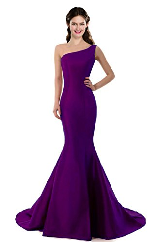 Gown Prom Mermaid (Color E Dress Design Brief Elegant Mermaid One-Shoulder Evening Dress Size 16 Purple)