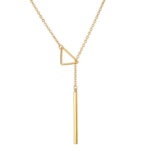[Long Chain Pendant Necklaces Gold Plated Layered Triangle Bar Charm Fashion Jewelry For Women Girls] (Best Mother And Son Costumes)