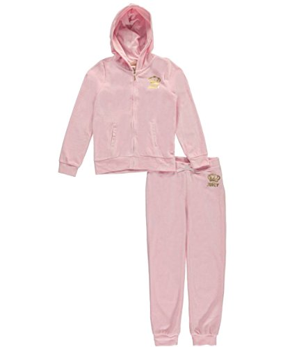 Juicy Couture Big Girls' 2 Piece Velour Hooded Jacket and Pant Set, Light Pink, 7