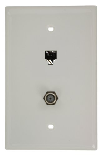 Leviton 40539-CMW Midsize Telephone/Video Wall Jack, 6P4C X F, White