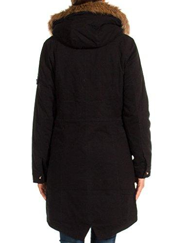 482 899 Noir Normale Unie Couleur Manche Jeans Carrera Parka Femme Taille Pour Fourrure Longue Écologique EU6ZOvq