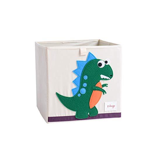 Cartoon Patterned Foldable Clothes Storage Box Children's Toy Storage Cube Book Organizer - 33x33x33cm (Washable, Dinosaur)