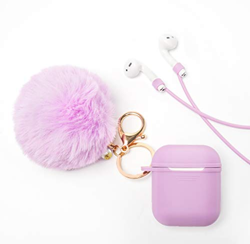 Airpods Case Cover - LEWOTE Airpods Silicone Cute Accessories [Protective Case, Anti-Lost Strap, Fur Ball Keychain] for Apple Airpod 1&2 (Purple)