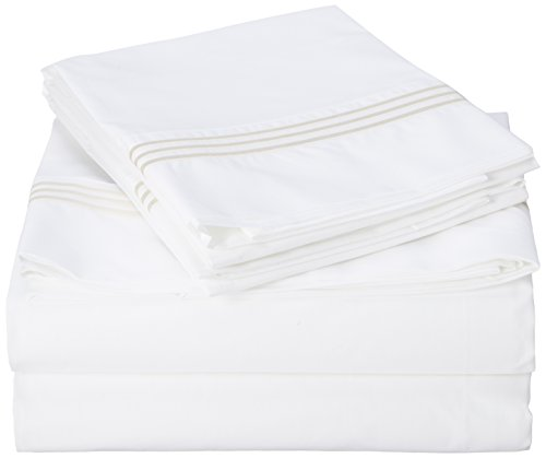 Celeste Home 300 Thread Count 100-Percent Egyptian Cotton 3 Lines Embroidery Sheet Set, King, Ivory ()