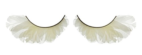 Zink Color Creamy White Feather False Eyelashes F143 Dance Halloween Costume -