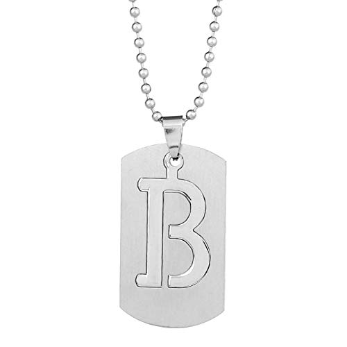 (Wintefei 26 Letters Alphabet Dog Tag Pendant Beaded Chain Punk Stainless Steel Necklace - B)