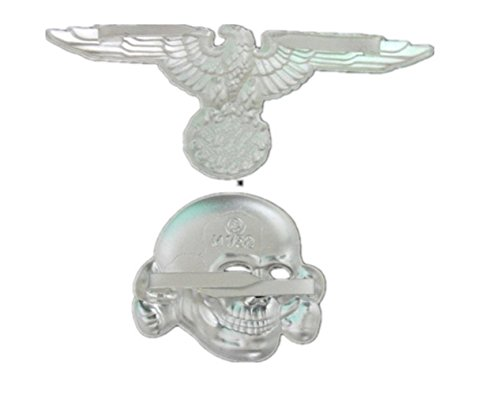 Gudeke WW2 German Elite Panzer Tank Skull Insignia Medal Cap Hat Badge 1 Set Broche