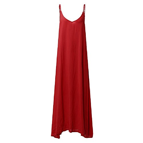 Dr Jean Lyrics (YoungG-3D Summer Women Boho Sexy V Neck Sleeveless Beach Dresses Loose Long Maxi Dress Vestidos Red M)