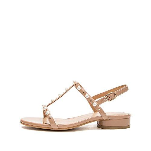 Sandali tacco 34 basso donna Sandali a estivi da Albicocca tacco casual alla DHG piatti Pantofole basso Tacchi con Sandali alti moda xgA0w4q