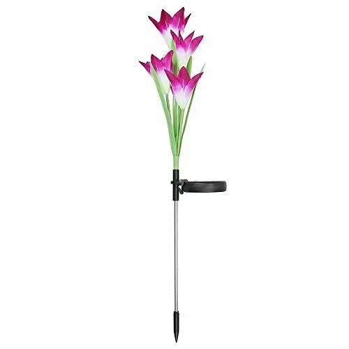 Doyime-White-Outdoor Solar Garden Stake Lights Patio Backyard 2 Pack Solarmart Solar Powered Lights with 4 Lily Flower Multi-Color Changing LED Solar Stake Lights for Garden