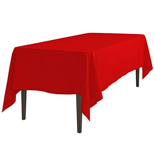 LinenTablecloth 60 x 102-Inch Rectangular Polyester Tablecloth Red ()