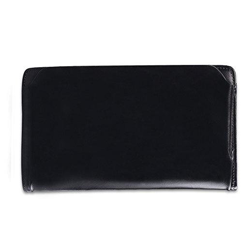 Clutch Leather Black Smooth Long Wallet Business Smooth Genuine Genuine Bag CwnXqOg