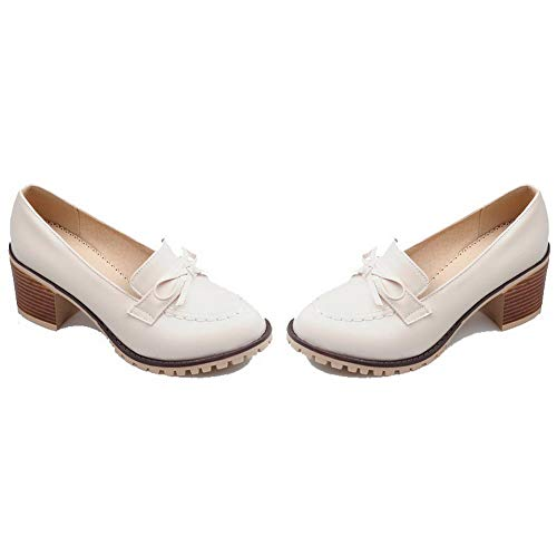 Puro Donna AllhqFashion Luccichio FBUIDD006569 Ballet Beige Flats Tirare Tacco Medio qHxXwgRx