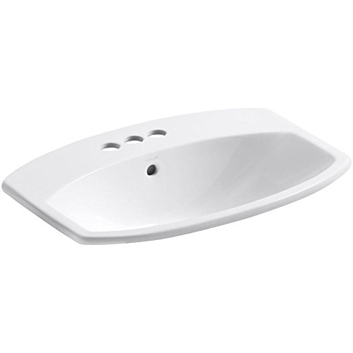 KOHLER K-2351-4-0 Cimarron Self-Rimming Bathroom Sink, White