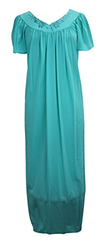 Tricot Long Flutter Sleeve Nightgown, Vivid Aqua, Large (Miss Elaine Long Gown)