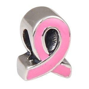 Bracelet Silver Ribbon Awareness Sterling (The Kiss Pink Ribbon Breast Cancer Awareness CZ Enamel Charm 925 Sterling Silver Bead Fits European Charm Bracelet (Pink Enamel 5))